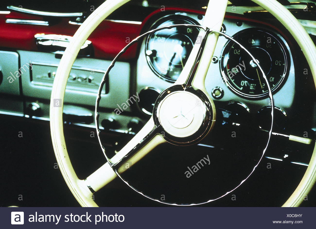 Old-timers, Mercedes, detail, tax, dash board, passenger car, vehicle, automobile, armatures, cockpit, steering, steering system, navigation, navigate, tax, tax, nostalgia, nostalgically - Stock Image