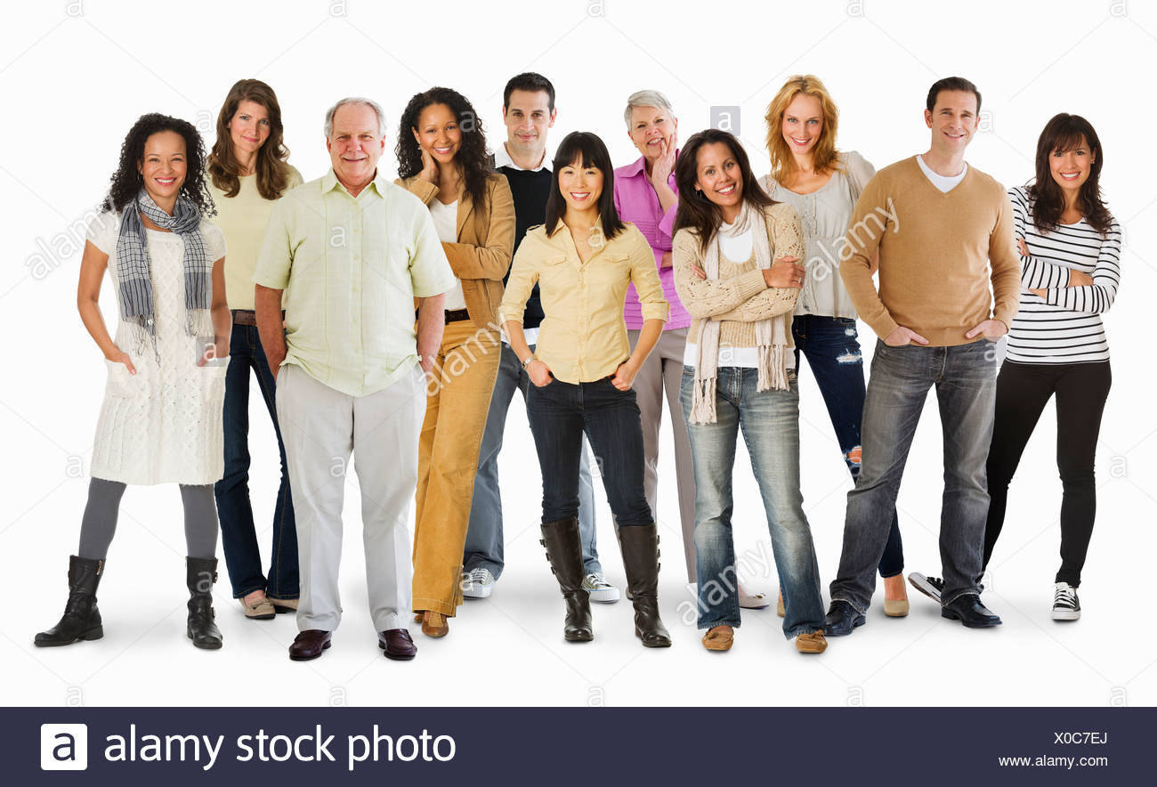 Studio portrait of large group of people standing arm in arm - Stock Image