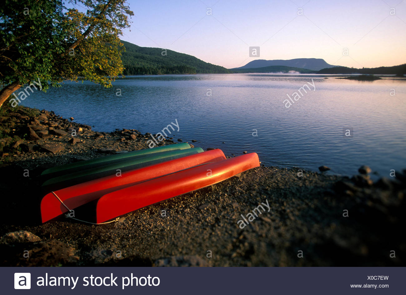 Canoes on Lobster Lake with Mount Katahdin in background, Maine