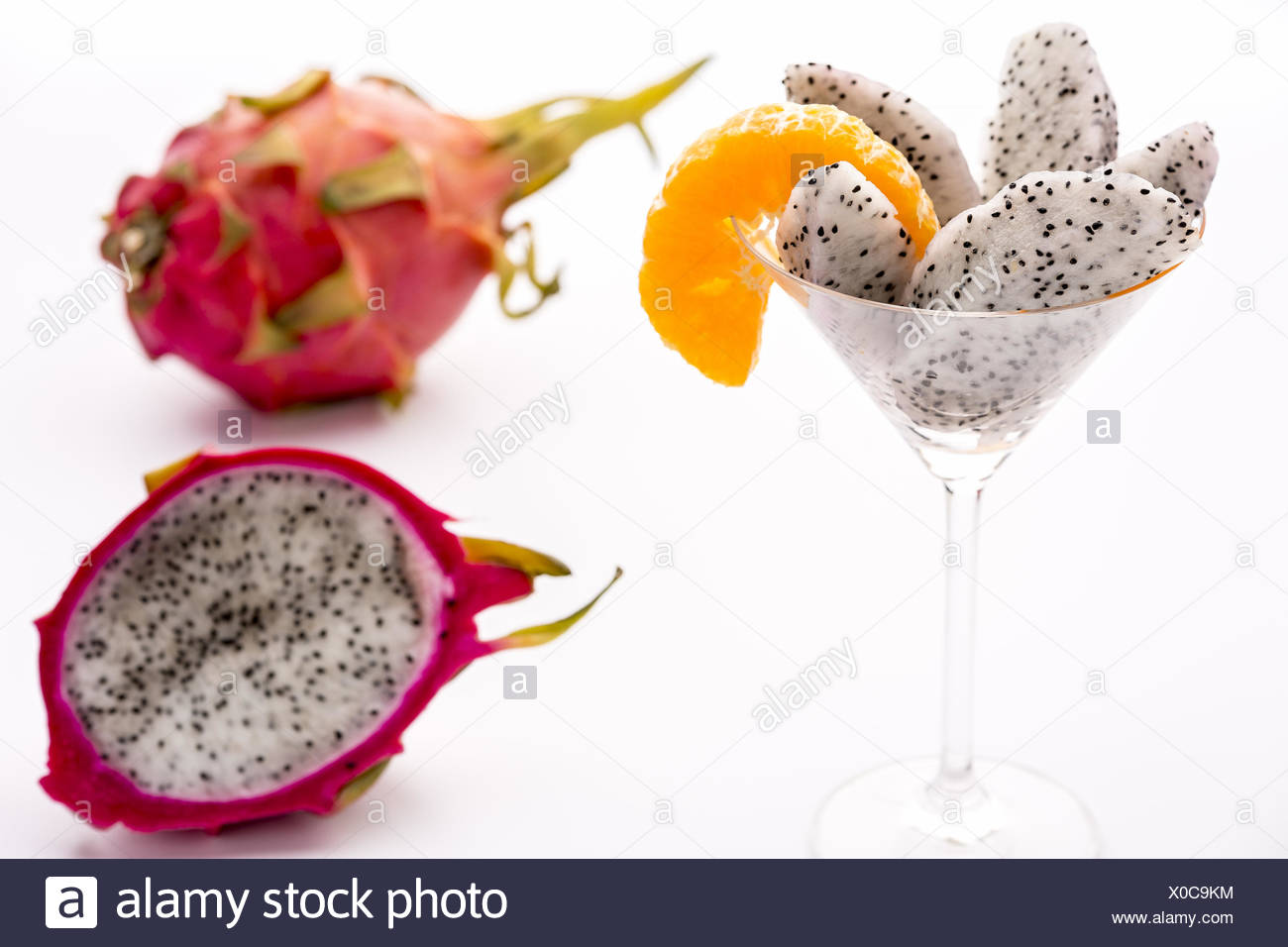 Fruit flesh of the Pitahaya blanca in a glass - Stock Image