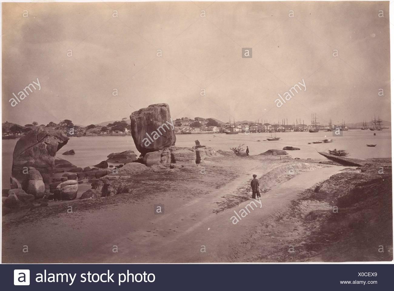 Amoy Harbour. Artist: John Thomson (British, Edinburgh, Scotland 1837-1921 London); Date: ca. 1869; Medium: Albumen silver print from glass negative; - Stock Image