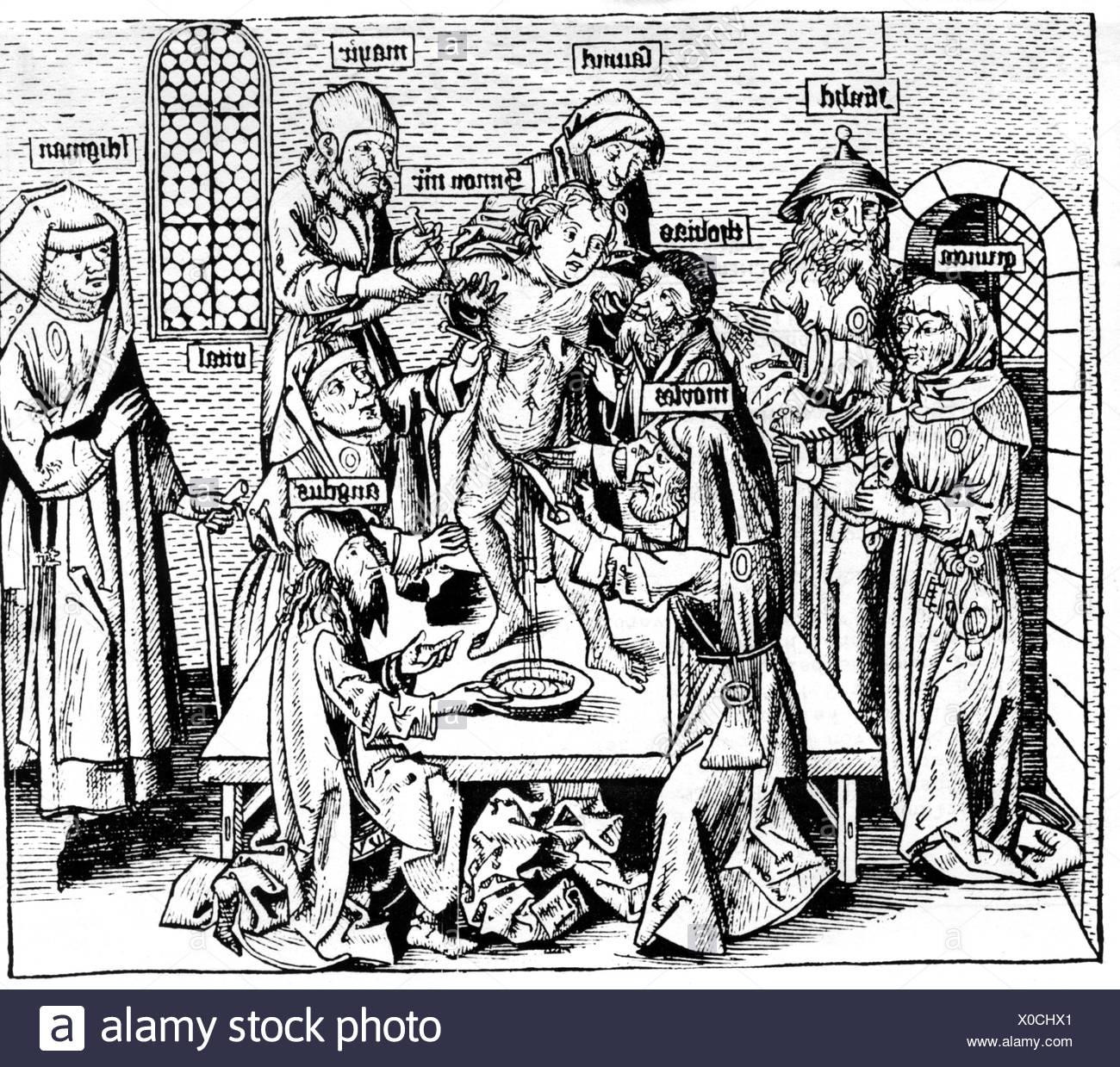 Judaism, persecution of the Jews, anti Jewish propaganda, alleged ritual murder, victim: Simon of Trent, 1475, woodcut by Michae - Stock Image