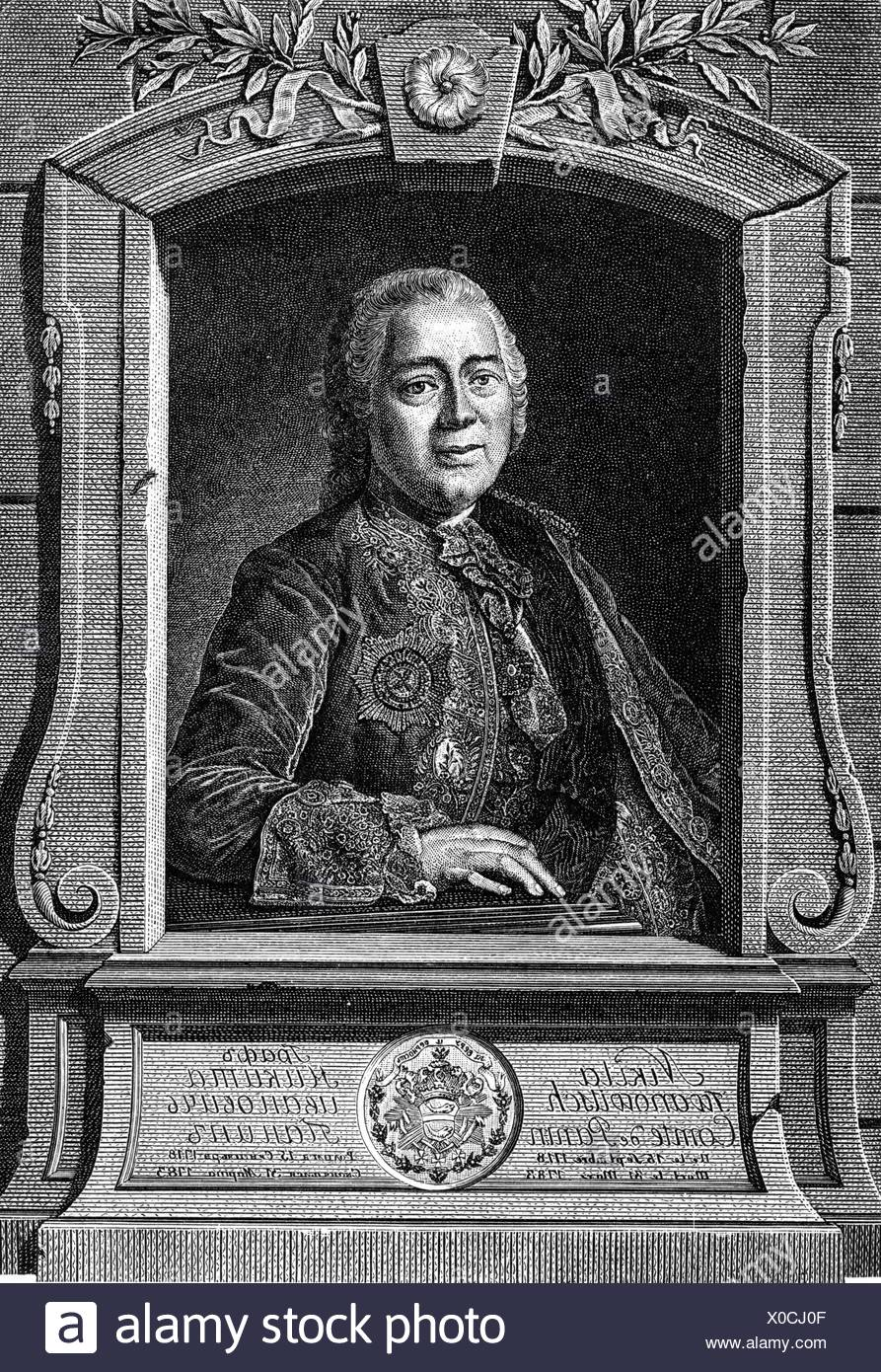 Panin, Nikita Ivanovich, 26.9.1718 - 20.3.1783, Russian politician, Minister of Foreign Affairs 1764 - 1780, half length, copper engraving, 18th century, , Artist's Copyright has not to be cleared - Stock Image