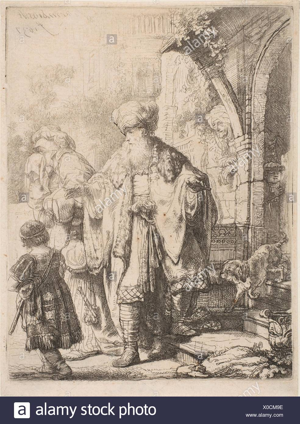 Abraham Casting out Hagar and Ishmael. Artist: Rembrandt (Rembrandt van  Rijn) (Dutch, Leiden 1606-1669 Amsterdam); Date: 1637; Medium: Etching with