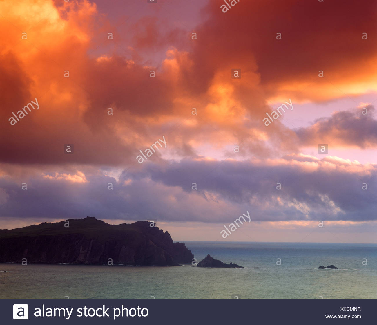 Afterglow, Horn Head, County Donegal, Republic of Ireland, Europe Stock Photo