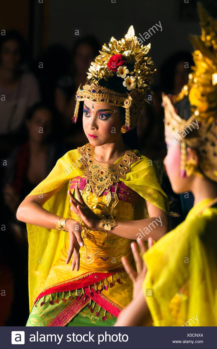 Indonesia Bali Ubud Balinese Dancers Dancing Legong Stock Photo