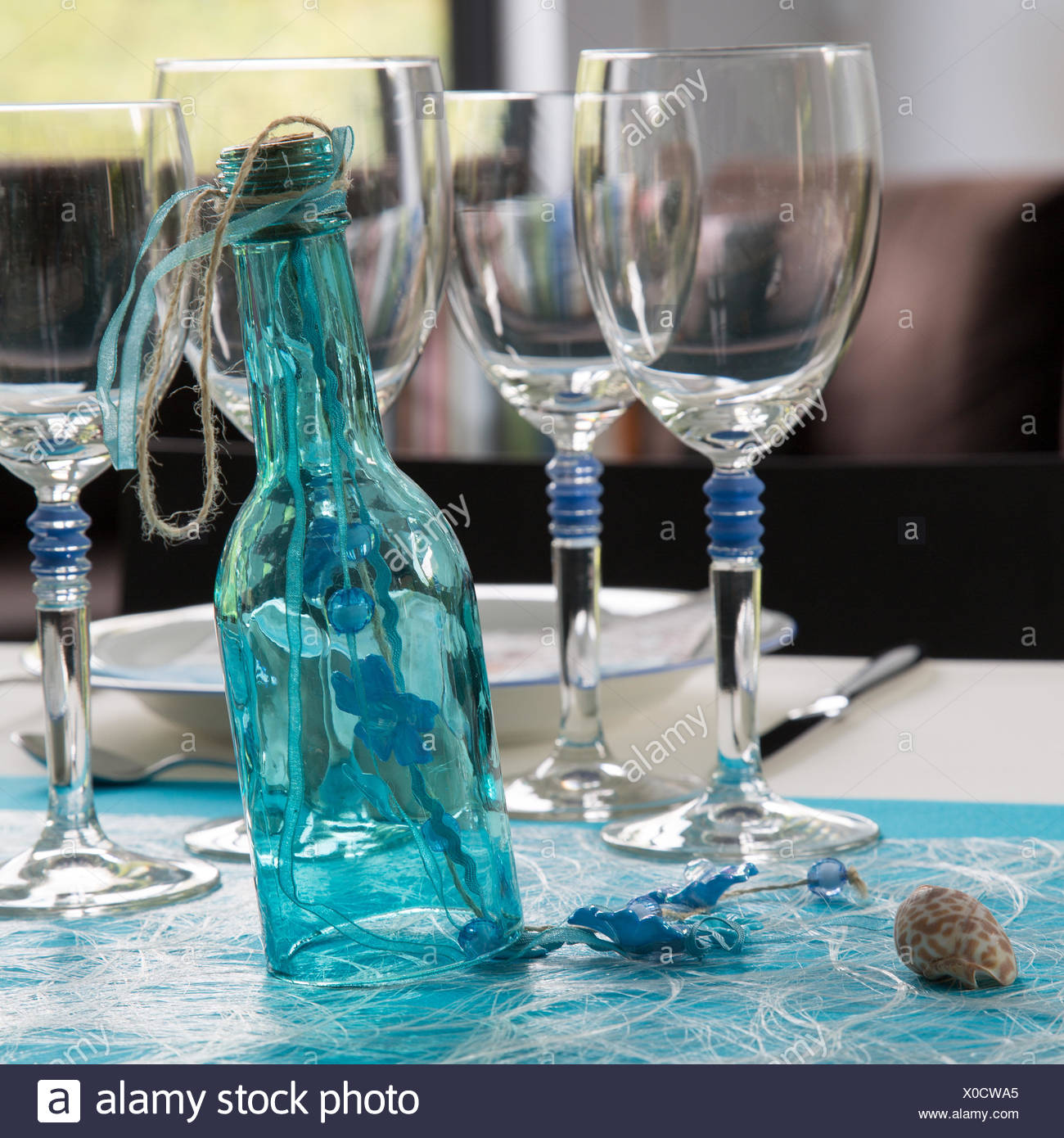 Blue table arrangement - Stock Image