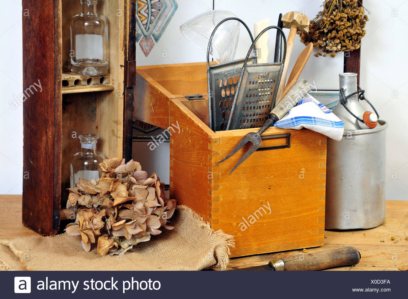 Old rustic wood country kitchen - Stock Image