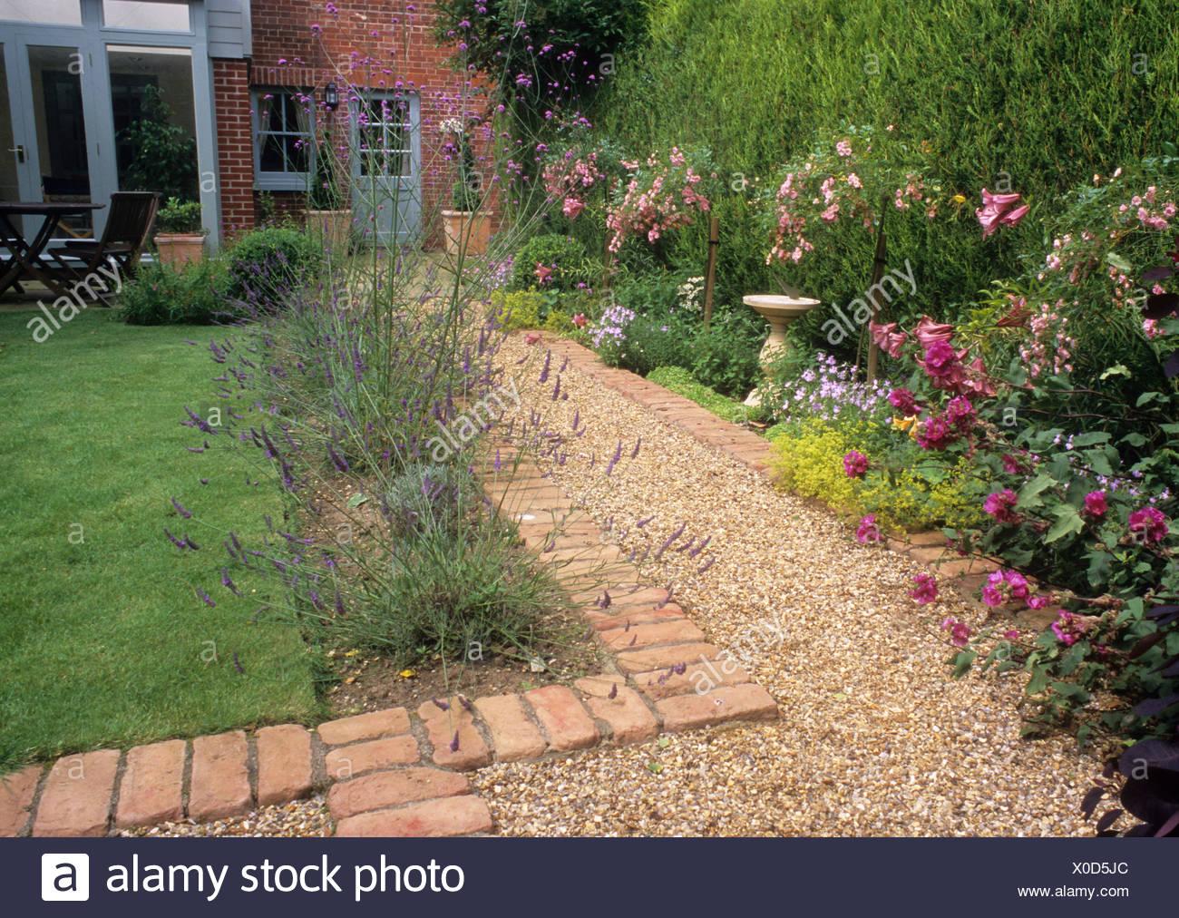 Path Gravel Brick Small Back Garden Design Lawn House Border