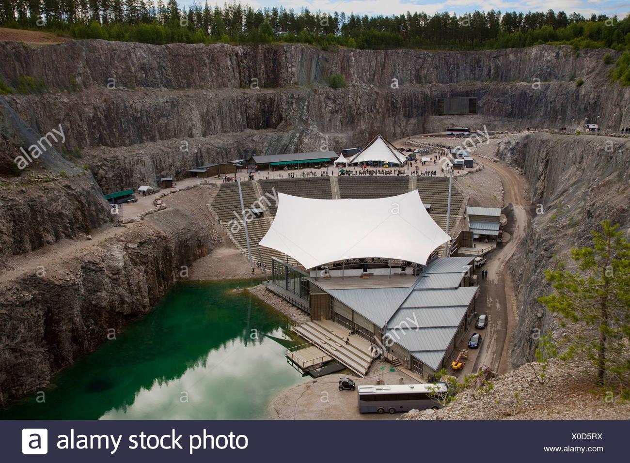 Dalhalla opera stage in Dalarna cliffs at Sweden - Stock Image