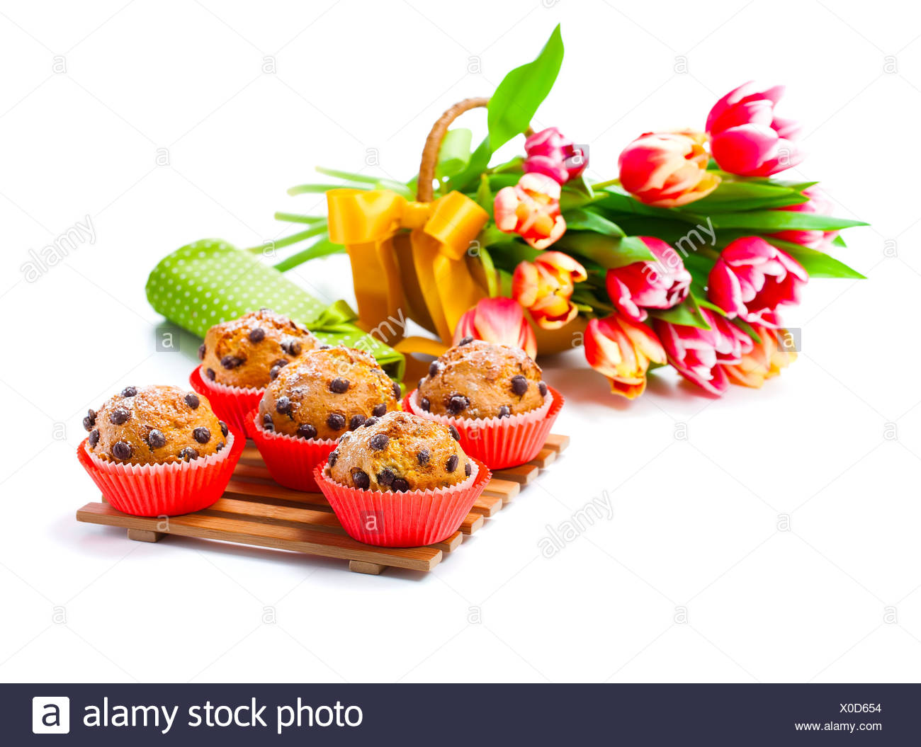 muffins with tulips Stock Photo