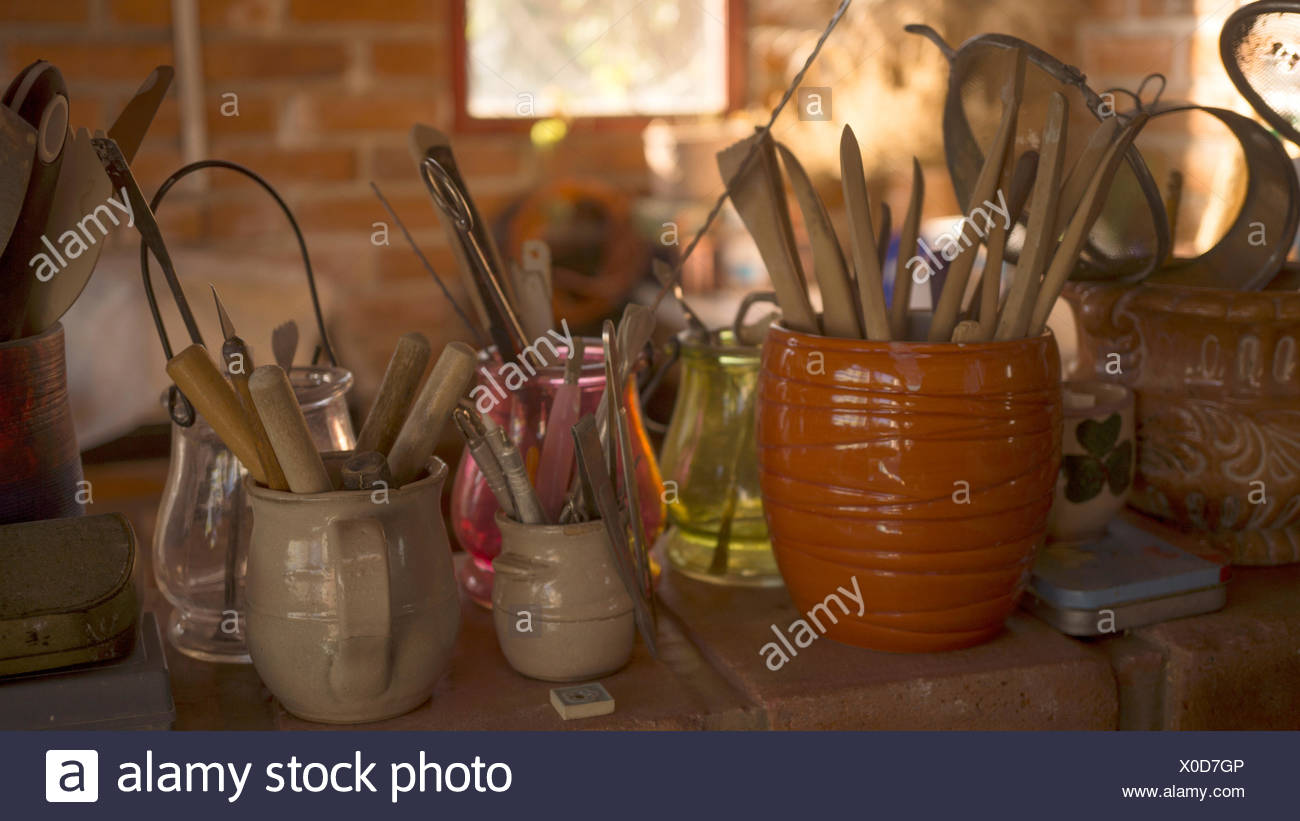 Pottery tools - Stock Image