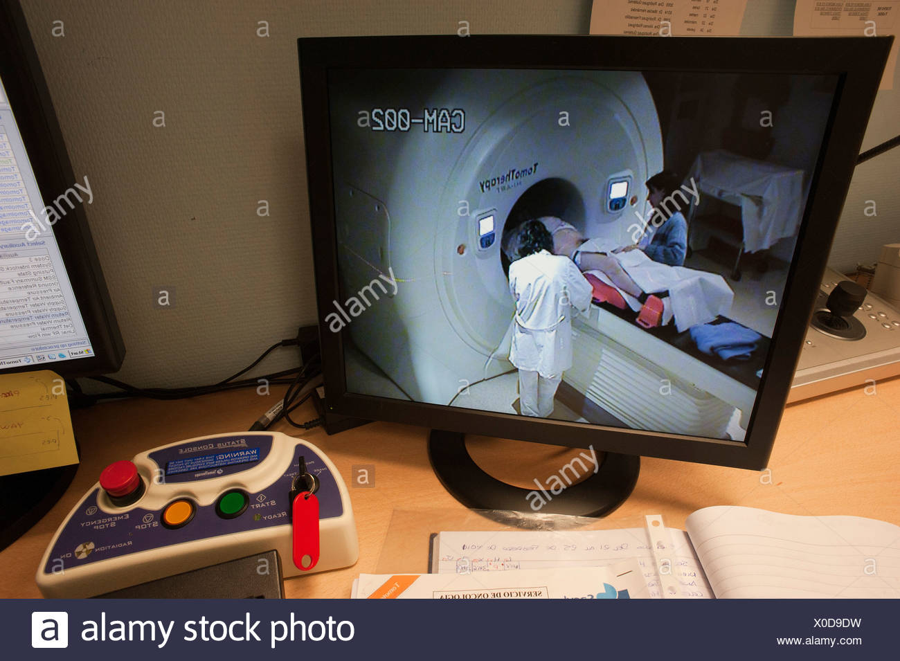 A patient enters a linear accelerator or linac for cancer therapy. - Stock Image
