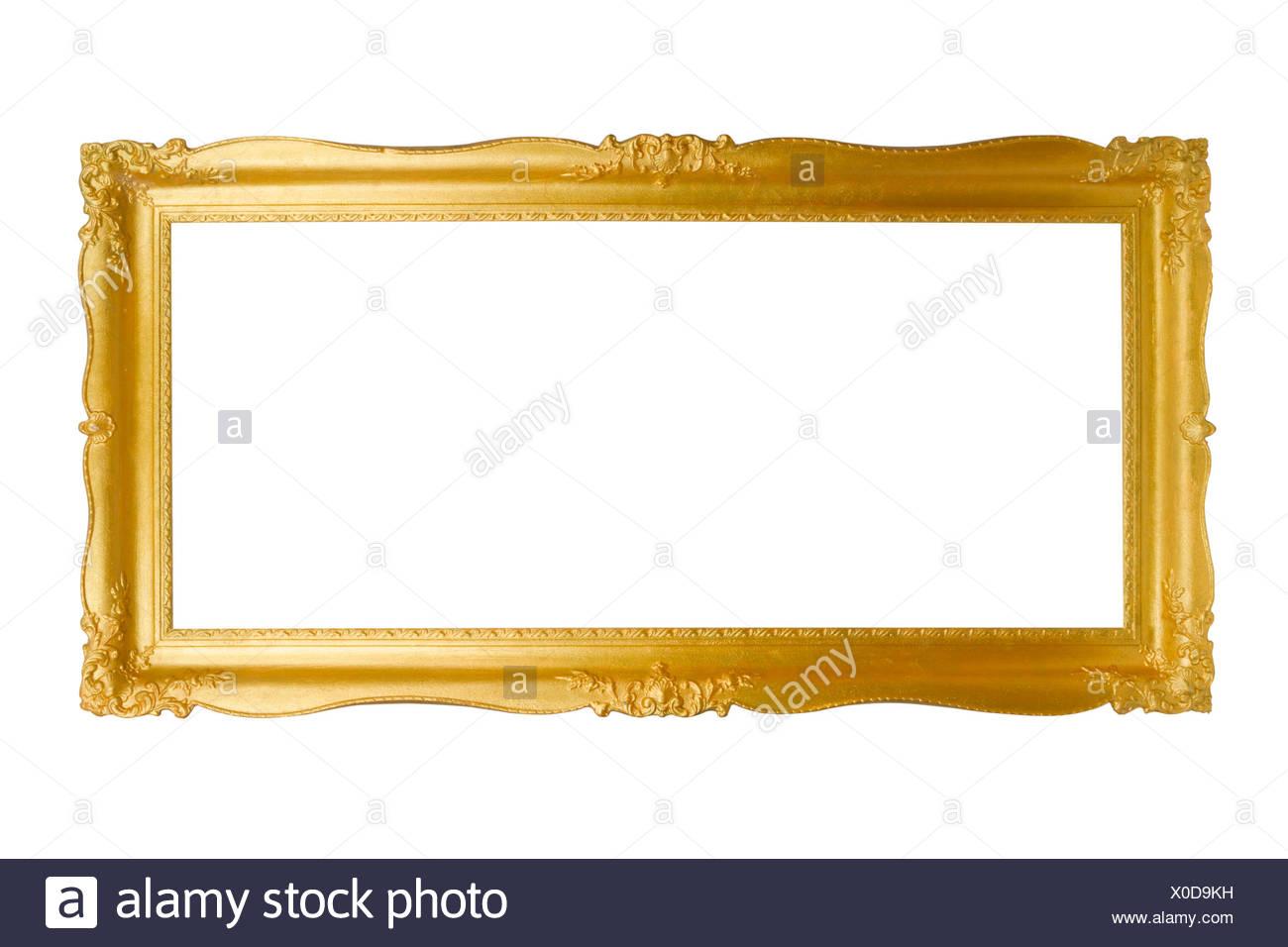 Barocker Bilderrahmen rechteckig freigestellt auf weissem ...