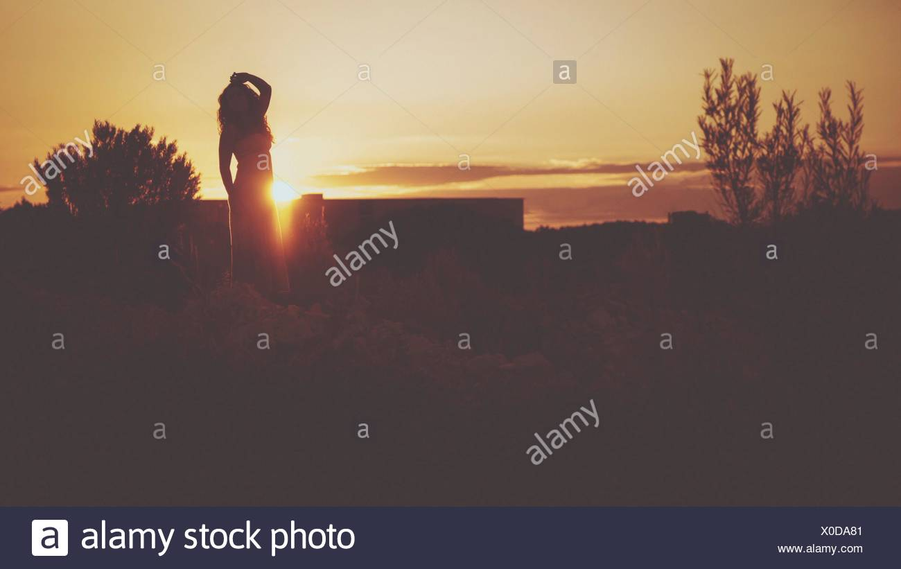 grass field sunset. Young Woman Standing On Grassy Field Against Sky At Sunset - Stock Image Grass