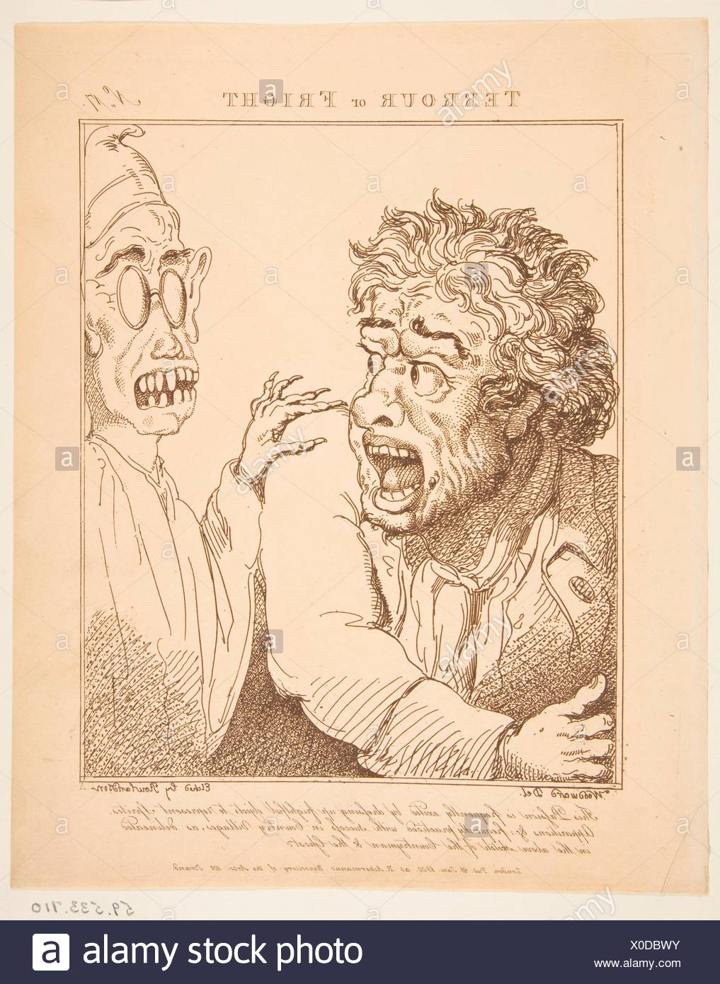 Terrour or Fright (Le Brun Travested, or Caricatures of the Passions). Series/Portfolio: Le Brun Travested, or Caricatures of the Passions; Etcher: - Stock Image