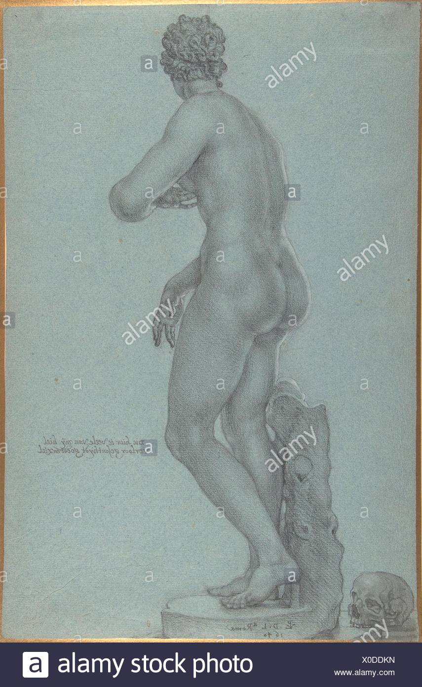 Venus de' Medici; view from the back. Artist: Peter van Lint, Flemish (Antwerp 1609-1690 Antwerp); Date: 1640; Medium: Black chalk, white - Stock Image