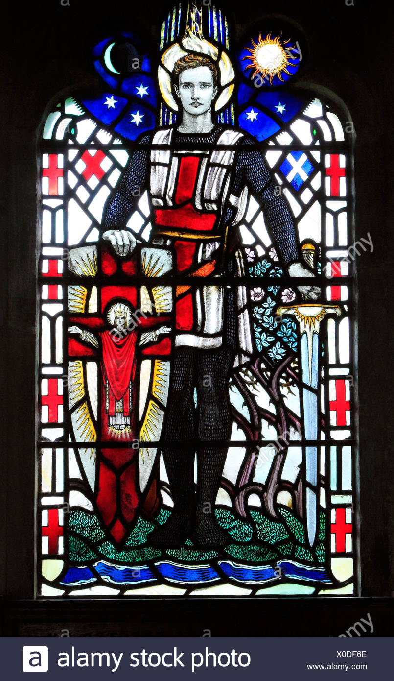 St. George, stained glass window 1920, by Karl Parsons, Arts and Crafts style, memorial window to Capt. Frank Beck, West Newton - Stock Image