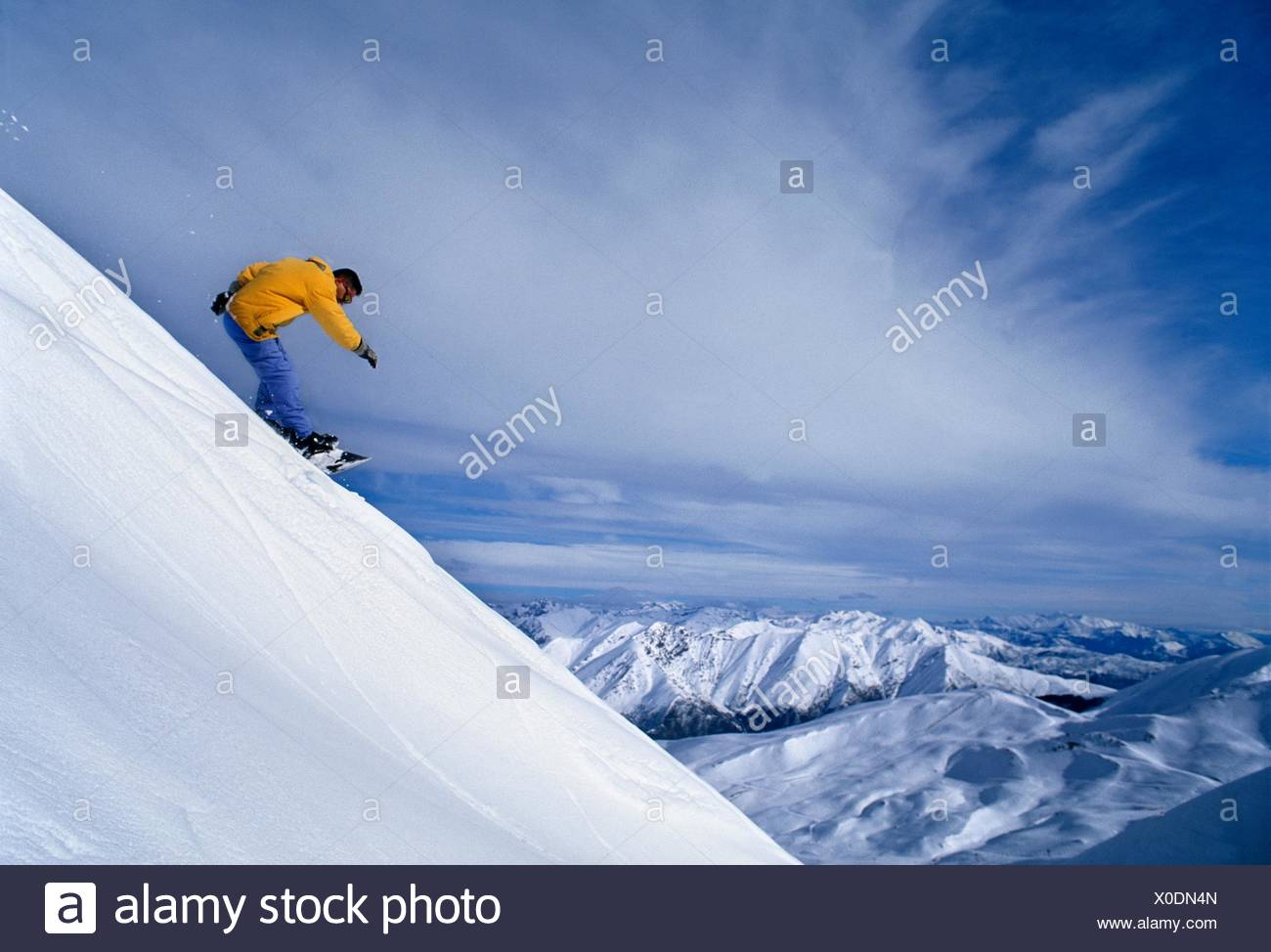 Snow board  Boi Taull ski resort. Alta Ribagorça, Lleida province, Catalonia, Spain - Stock Image