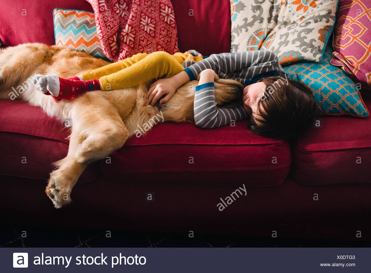 Girl sleeping on couch with golden retriever dog - Stock Image