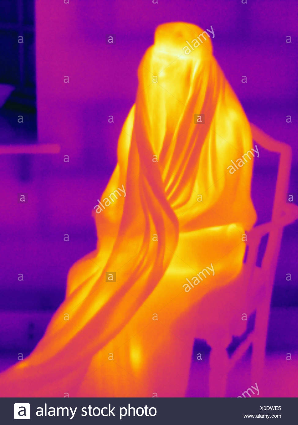 Thermal image muslim woman wearing burka - Stock Image