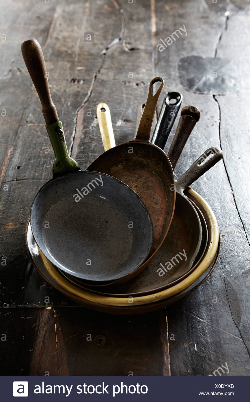 Variation of frying pans - Stock Image