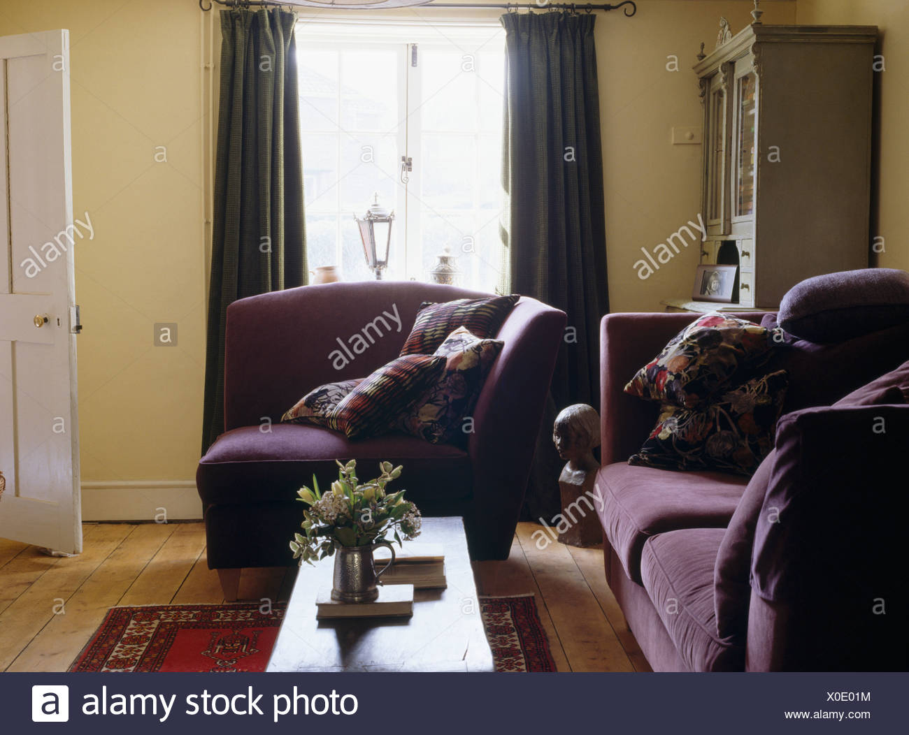 Enjoyable Purple Velvet Covered Sofa And Armchair In Small Pale Yellow Pabps2019 Chair Design Images Pabps2019Com