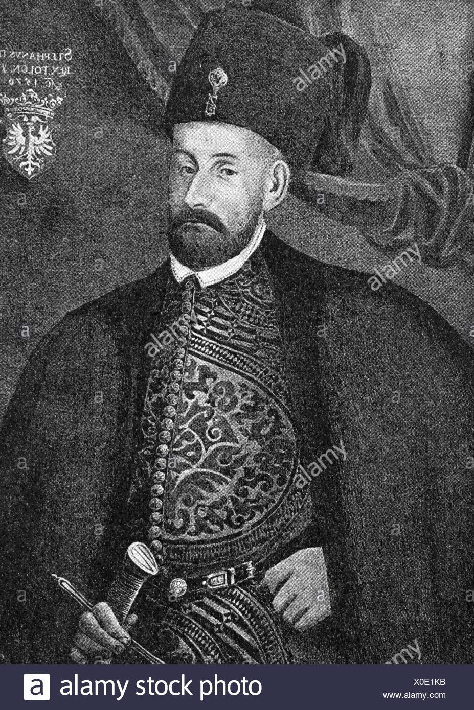 Stephen Bathory, 27.9.1533 - 12.12.1586, King of Poland 14.12.1575 - 12.12.1586, half length, wood engraving, 19th century, after painting, 1576, , Artist's Copyright has not to be cleared - Stock Image