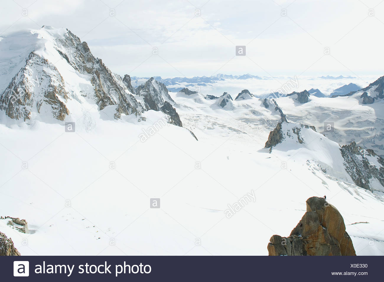 Italy - France, Mont Blanc, view of Vallee Blanche from the Aiguille du Midi Stock Photo