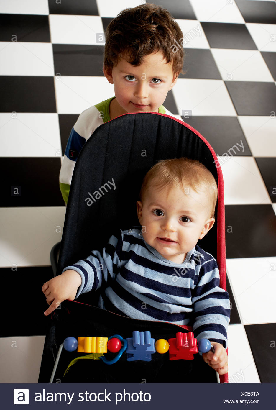 Portrait of brothers, Sweden. - Stock Image