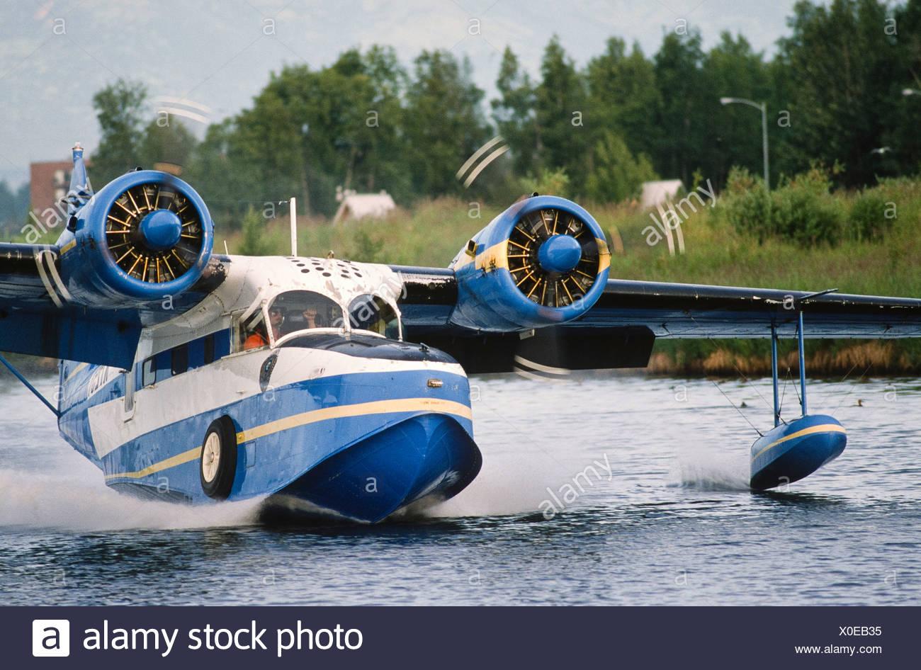 Alaska. Float planes link communities in rural Alaska. Grumman Goose. - Stock Image