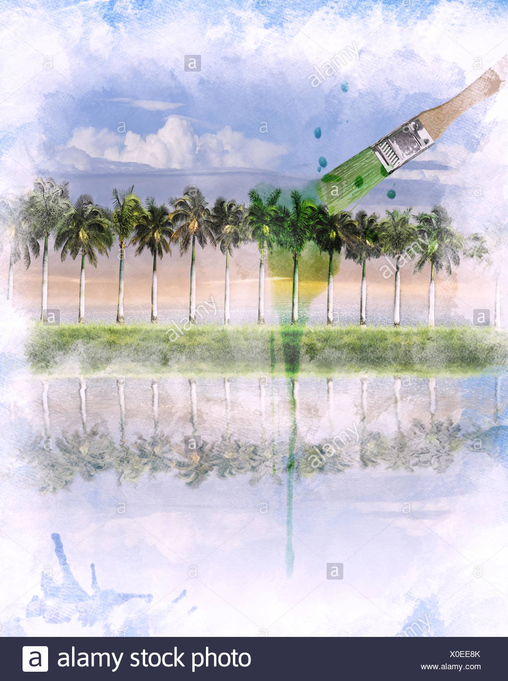 Watercolor Image Of  Landscape - Stock Image