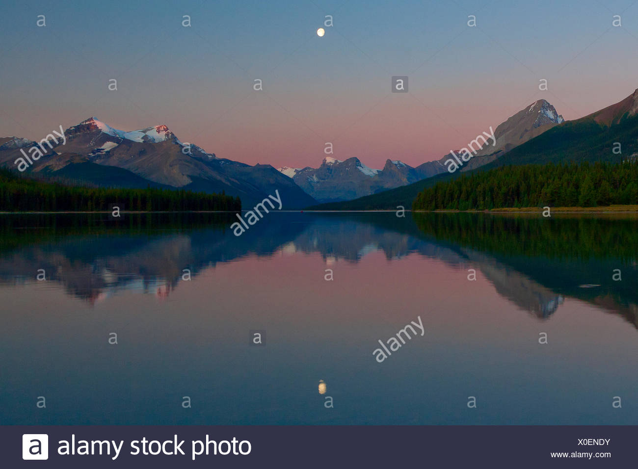 Canada, province, nature, landscape, Rockies, Canadian Rockies, mountains, lake, scenery, Alberta, Jasper, National Park, Malign - Stock Image
