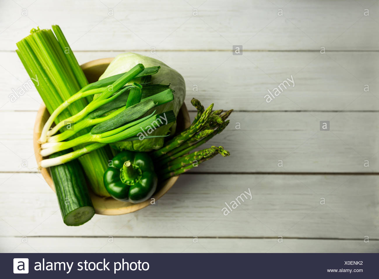 Green vegetables on table Stock Photo