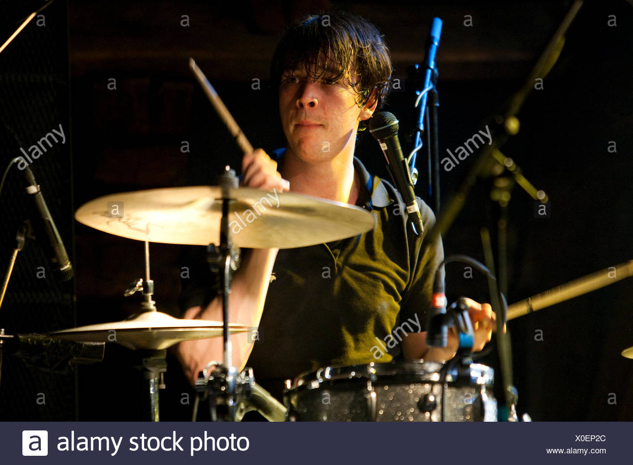 Drummer of the Belgian pop band The Pop live at the Schueuer venue, Lucerne, Switzerland - Stock Image