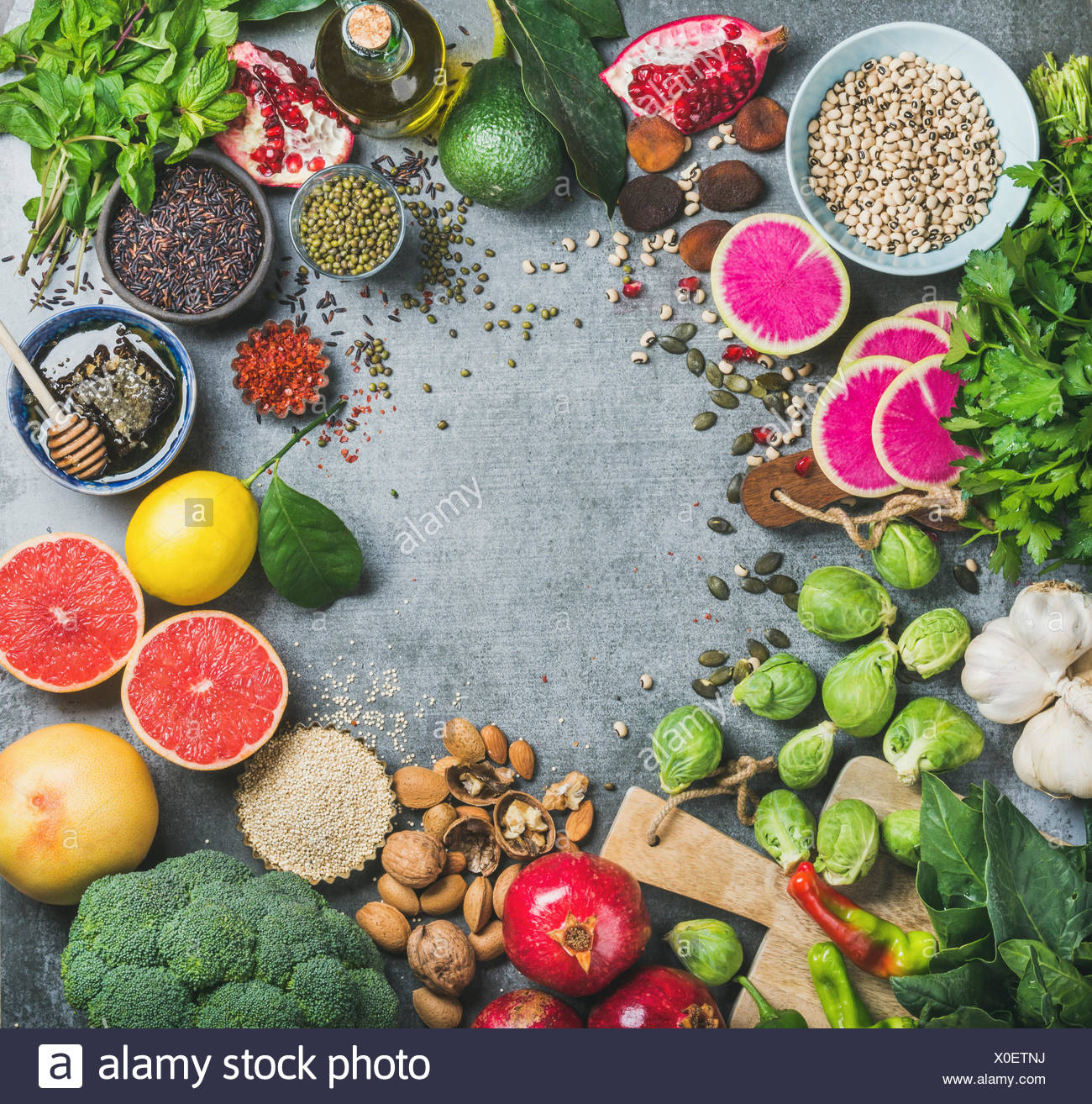 Clean eating concept. Variety of vegetables, fruit, seeds, cereals, beans, spices, superfoods, herbs, condiment for healthy eating, dieting, vegan, ve - Stock Image