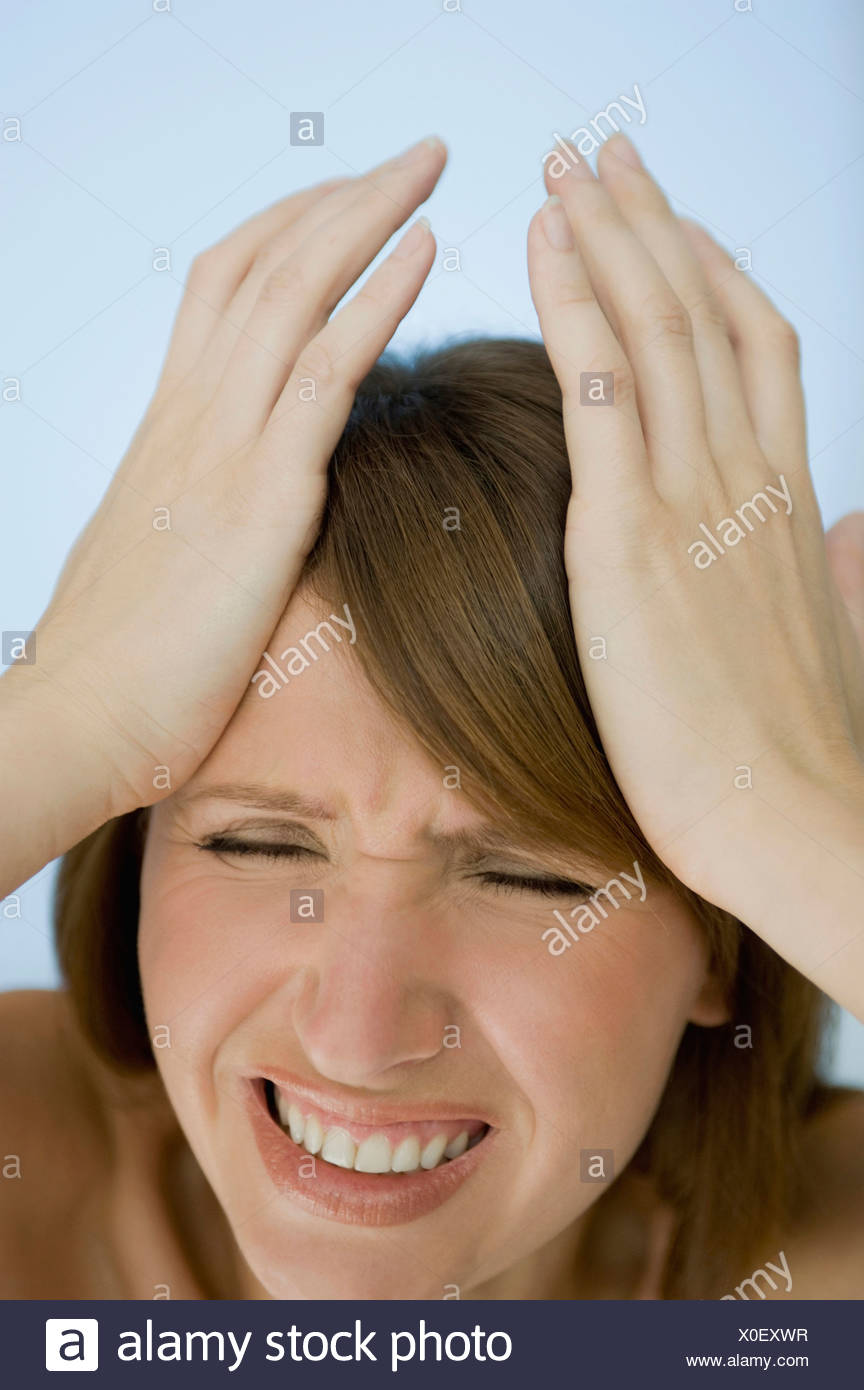Woman Hands On Head Eyes Closed Portrait Close Up Stock