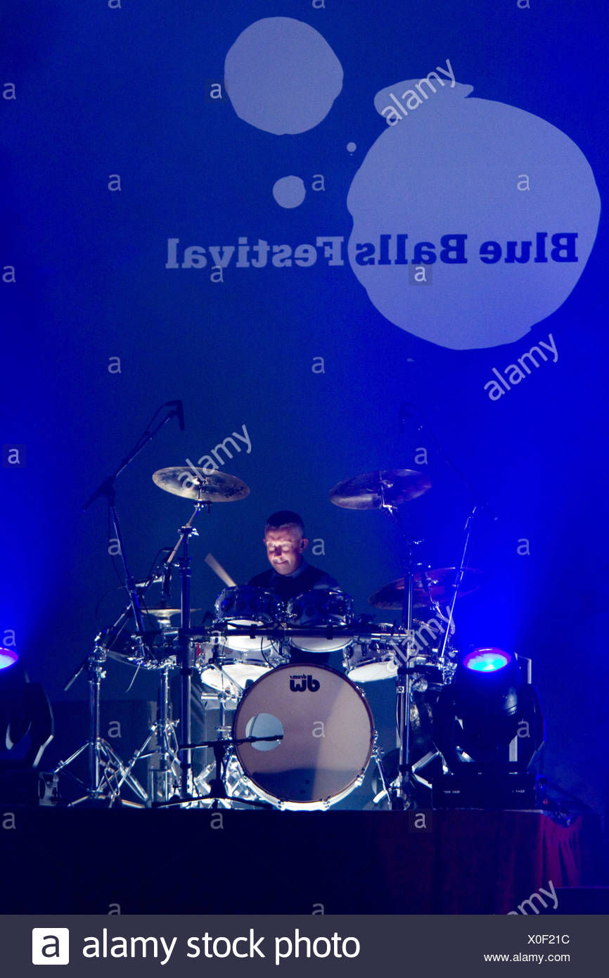 Drummer of the British soul and pop singer Seal, live at the Blue Balls Festival in the Lucerne hall of the KKL in Lucerne, Swi - Stock Image
