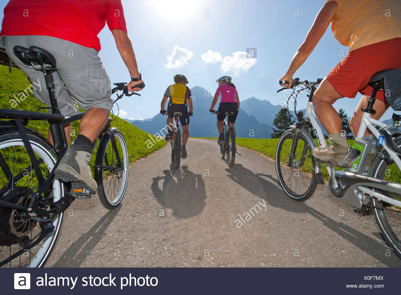 Electric bike, Ebike, electric bicycle, Adelboden, canton, Bern, Bernese Oberland, summer sport, bicycle, bicycles, bike, riding - Stock Image