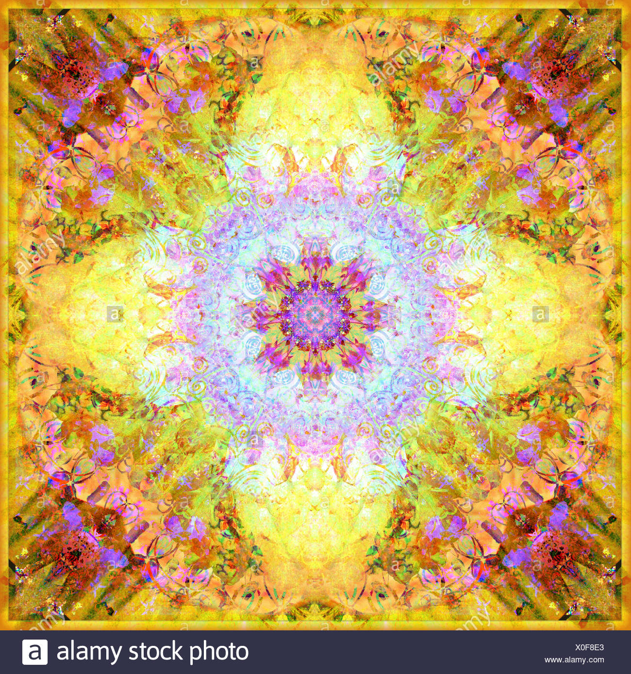 A Flower Mandala, photographic layer work from flowers Stock Photo