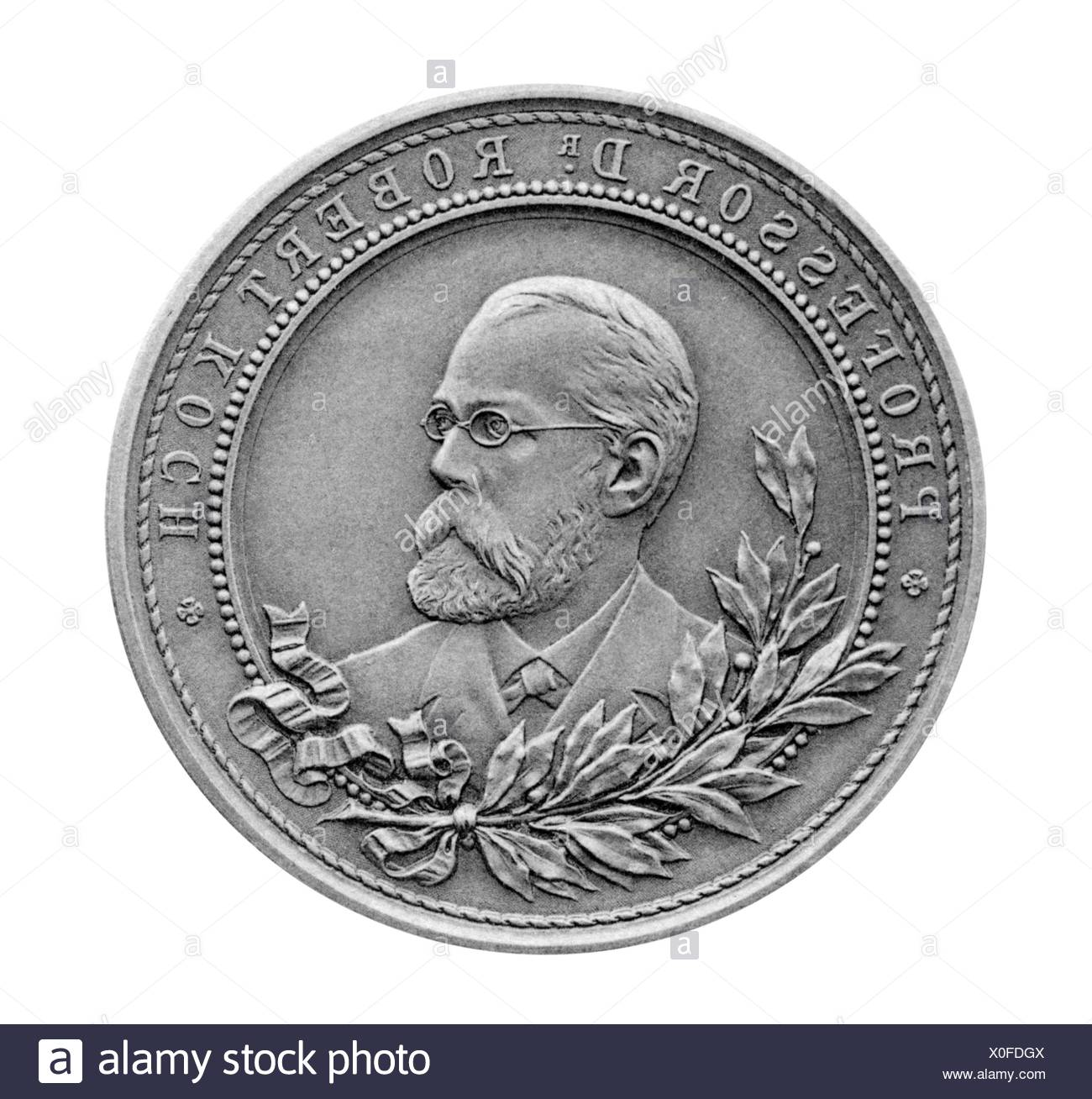 Koch, Robert, 11.12.1843 - 27. 5.1910, German bacteriologist, portrait, medal, obverse, Stuttgarter Metallwarenfabrik Mayer & Wilhelm, famous men series, Stuttgart, circa 1900, Additional-Rights-Clearances-NA - Stock Image
