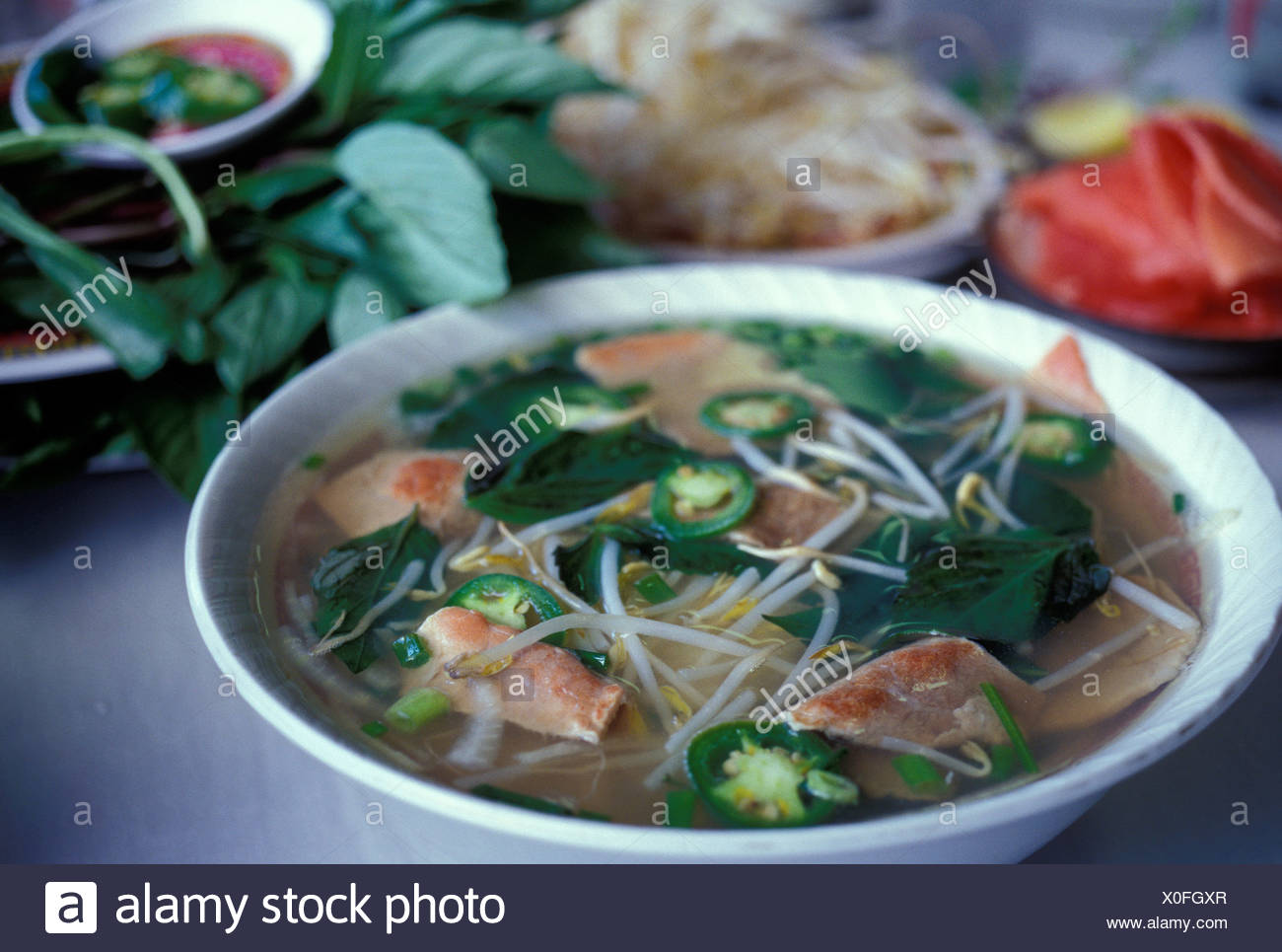 bowl of Pho, traditional Vietnamese noodle soup with sliced