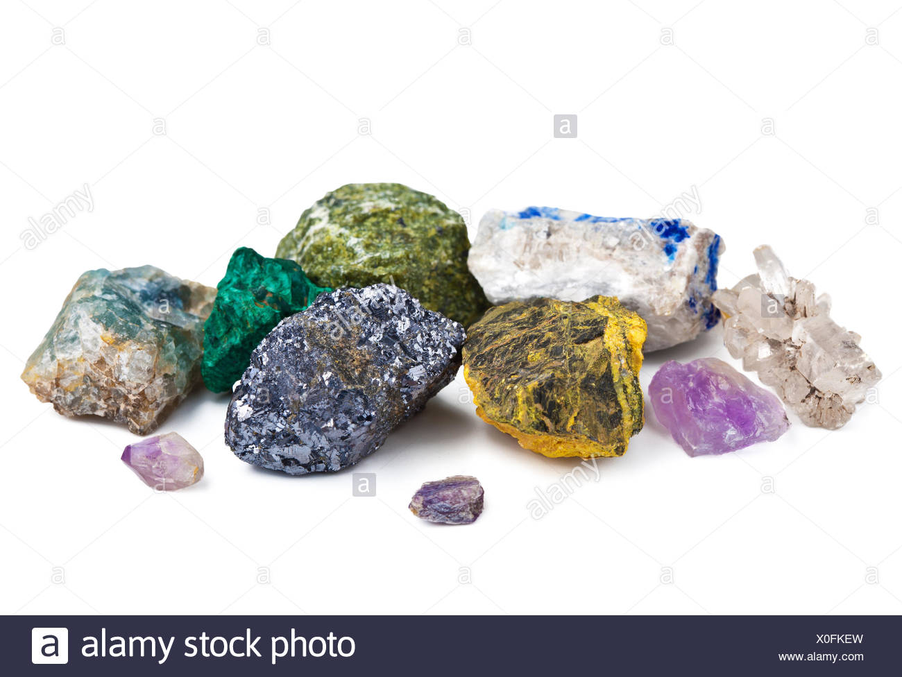 collection of minerals isolated - Stock Image