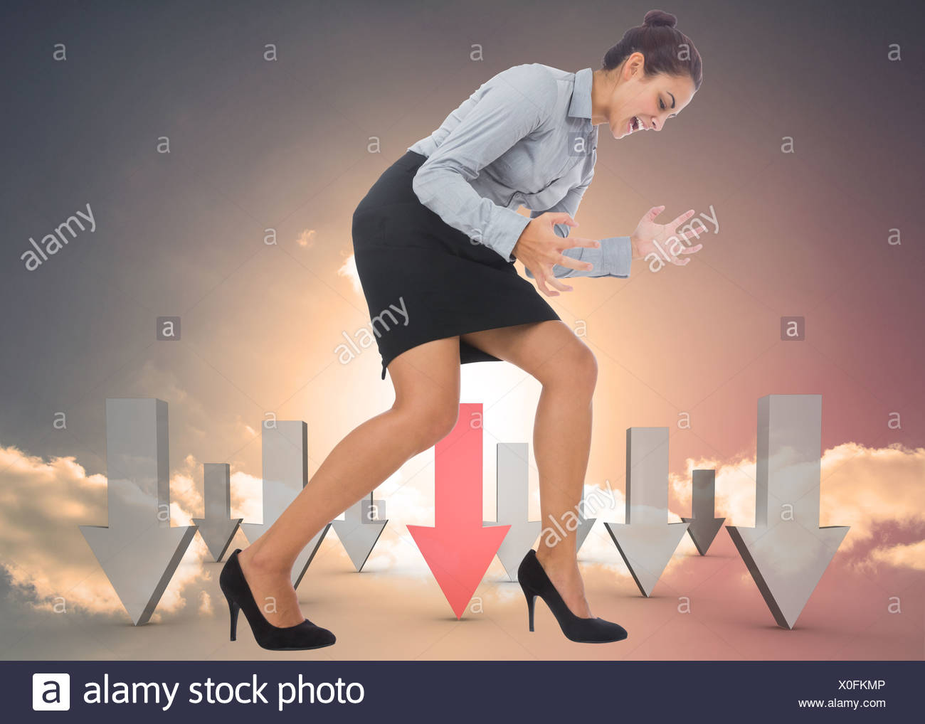 Composite image of furious businesswoman gesturing - Stock Image