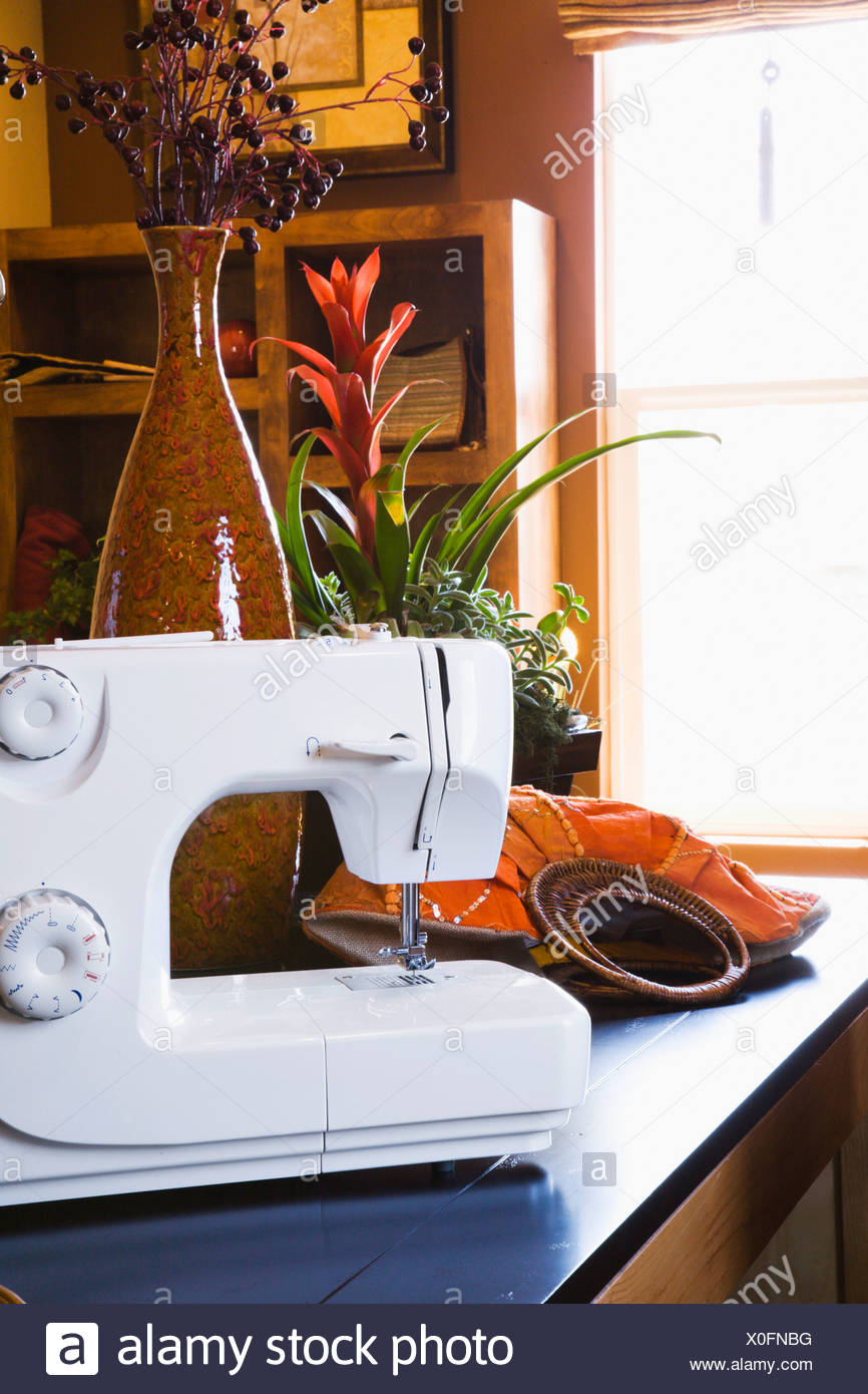 sewing machine in home business stock photo 275711956 alamy