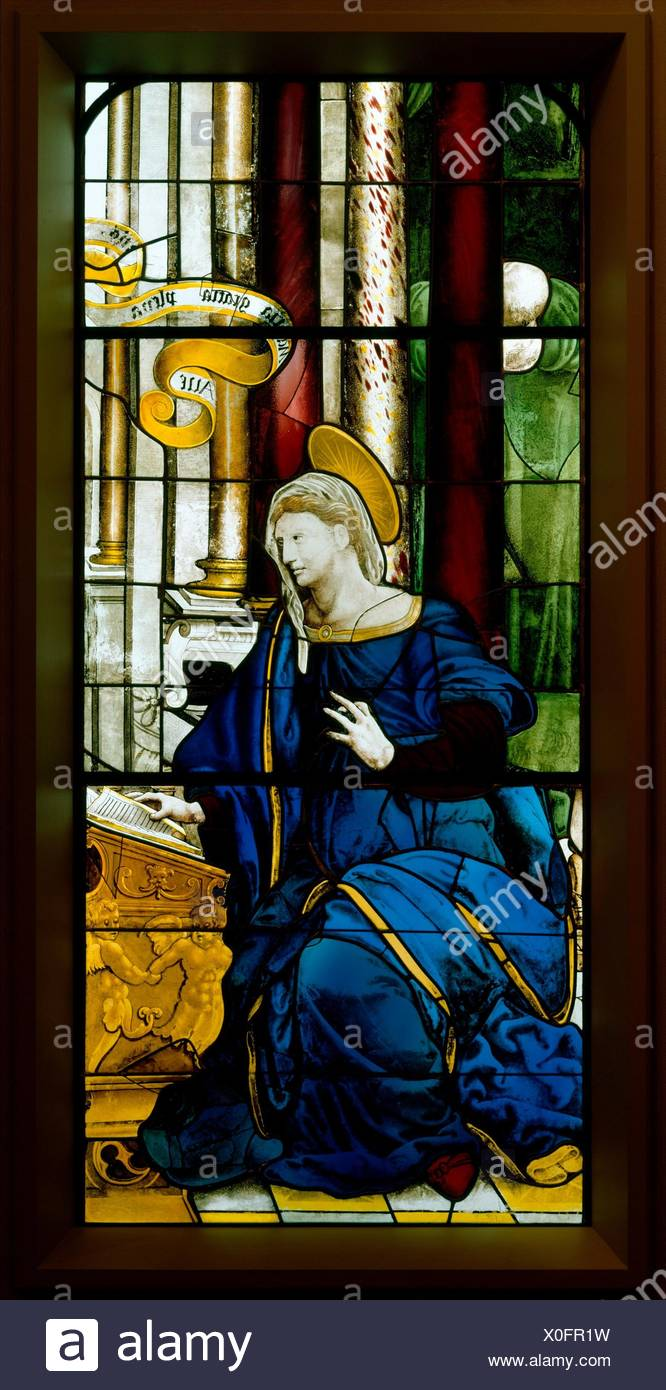 The Annunciate Virgin (one of a pair). Date: 1552; Culture: French, Paris; Medium: Colored, stained, and enameled glass; Dimensions: 64 x 28 in. Stock Photo