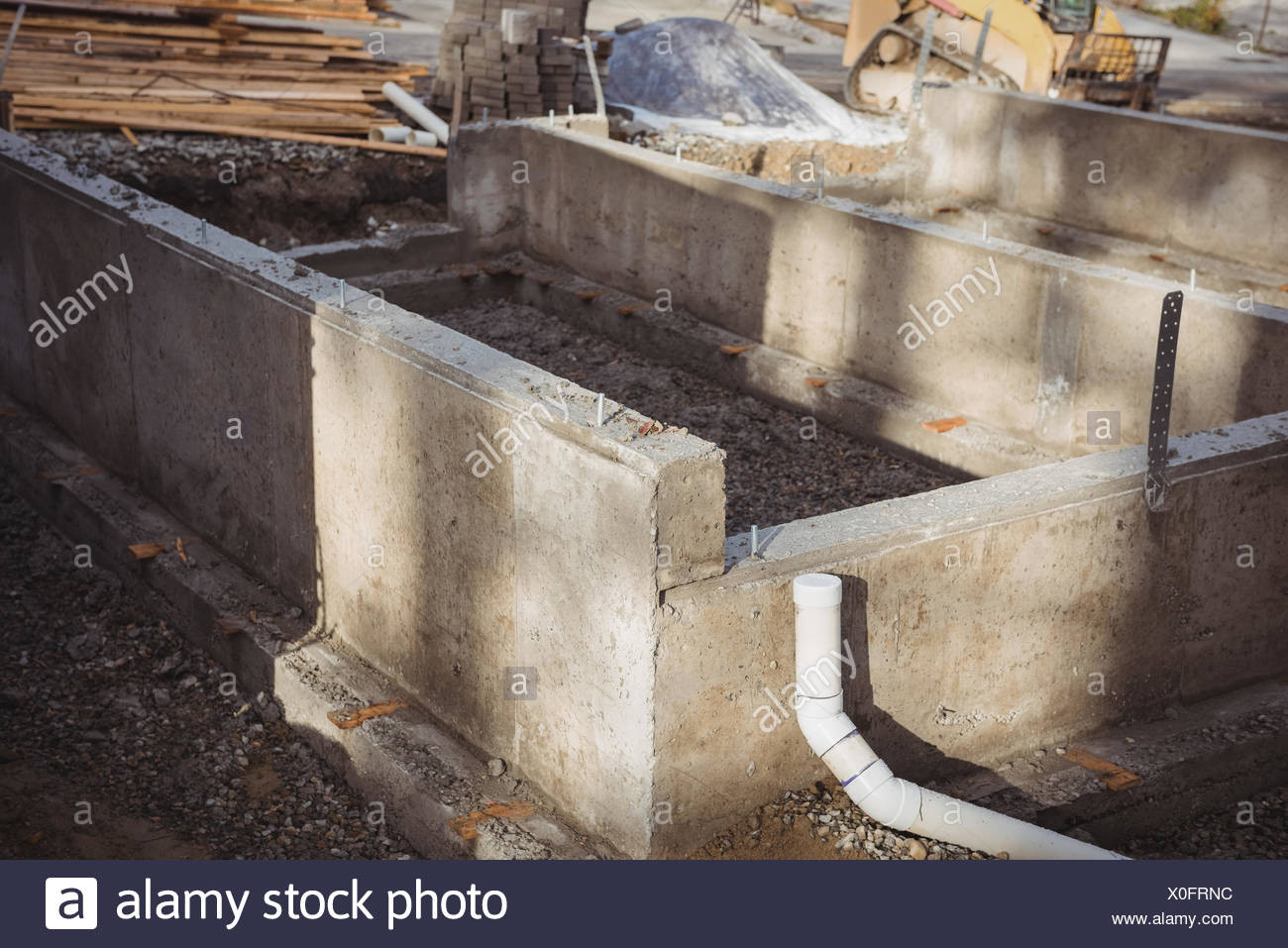 Concrete Foundation And Drainage Pipe Stock Photo Alamy