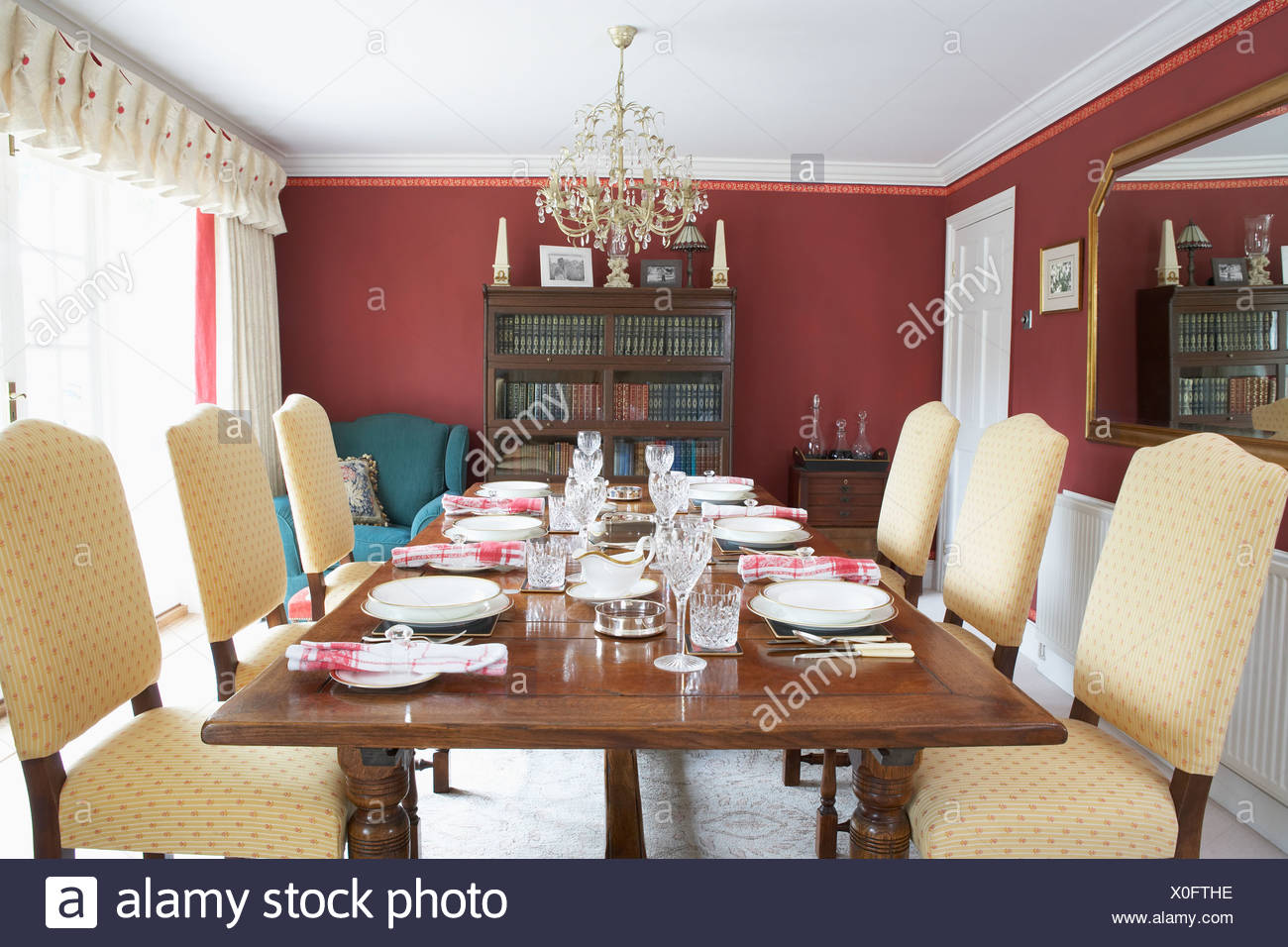 Dining Room With Laid Table - Stock Image