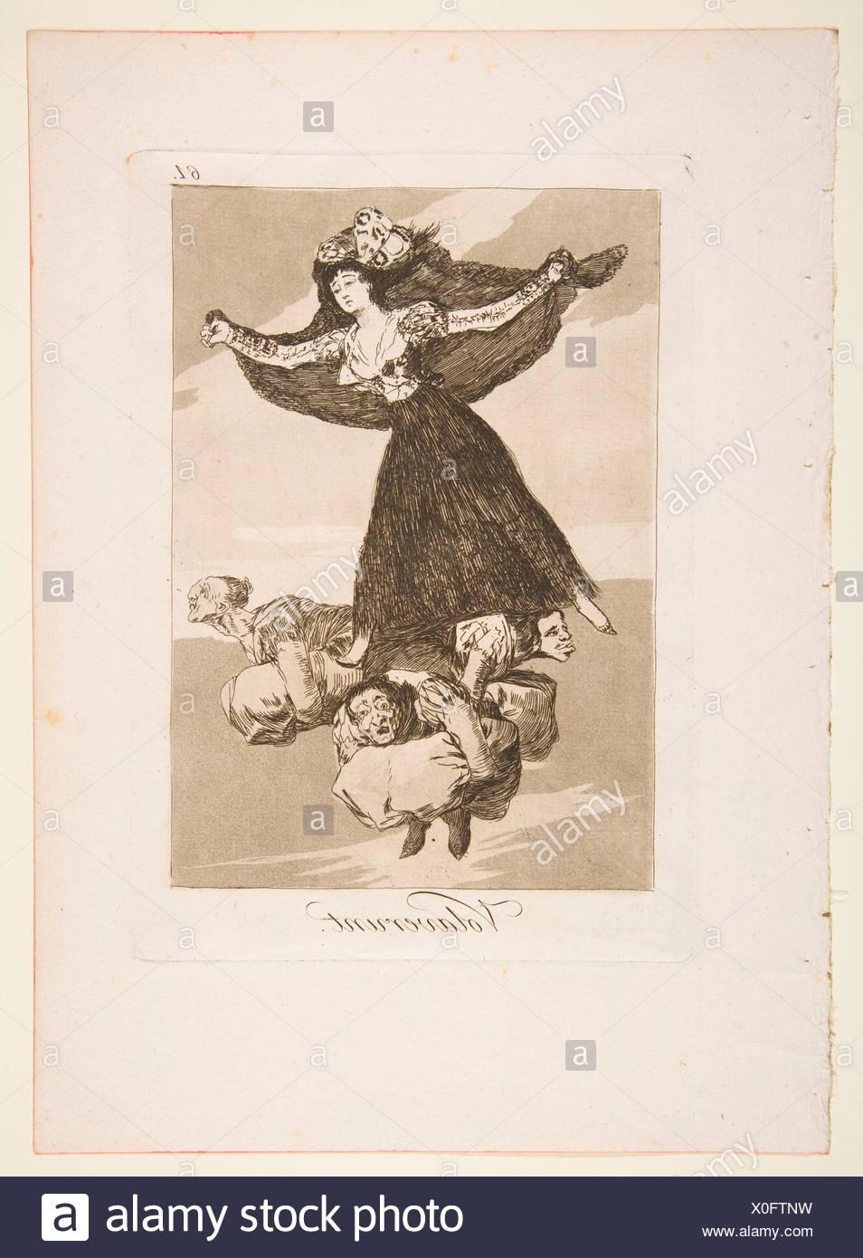 Plate 61 from 'Los Caprichos': They have flown (Volaverunt.). Series/Portfolio: Los Caprichos; Artist: Goya (Francisco de Goya y Lucientes) (Spanish, - Stock Image