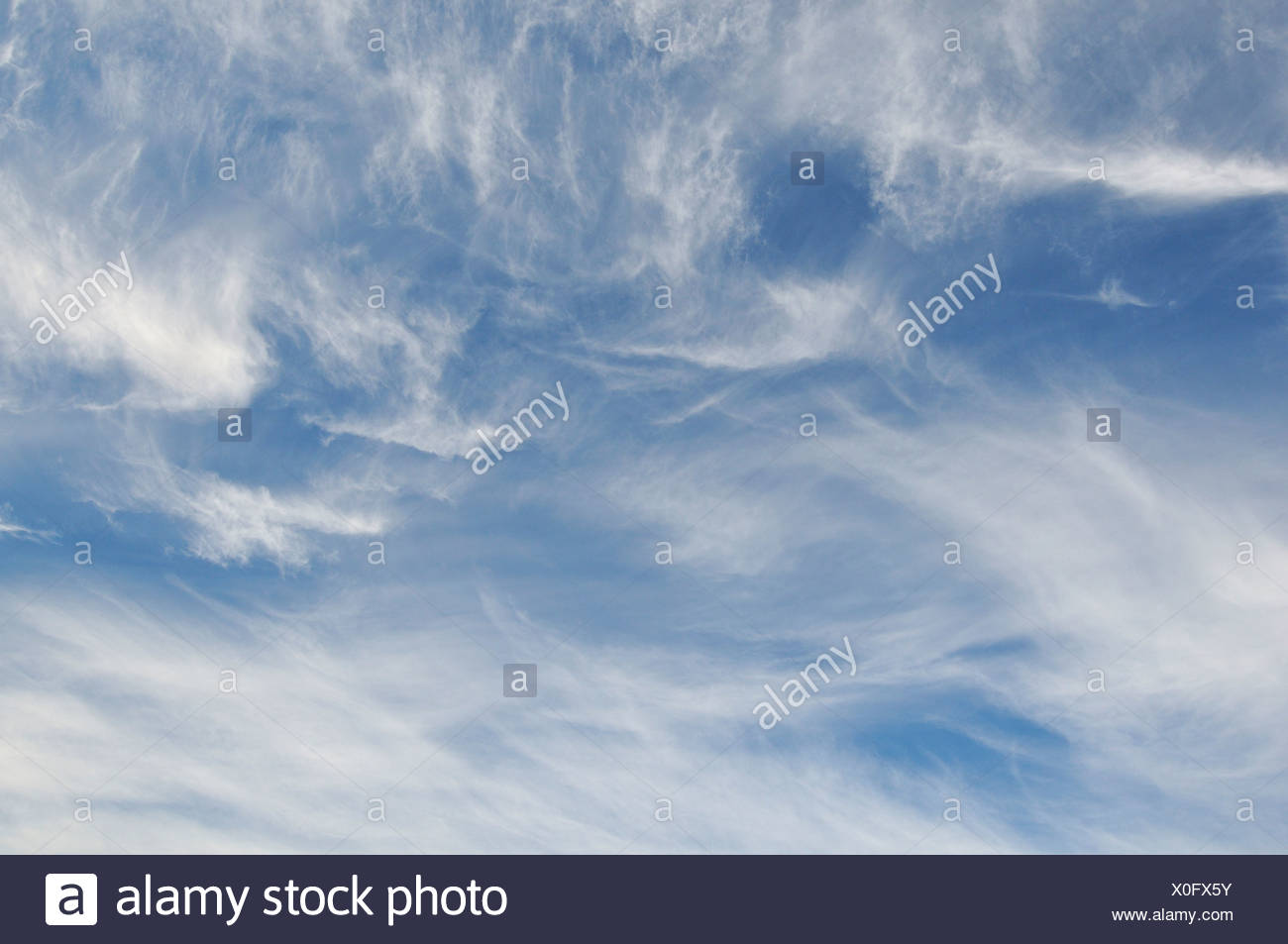 Cirrus clouds, at an altitude of 8000 to 12000 m - Stock Image